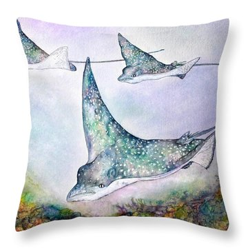 Spotted Eagle Rays Throw Pillow