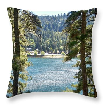 Forrest Mountain Trees Lake Scenic Photography Lake Gregory San Bernardino California - Ai P. Nilson Throw Pillow