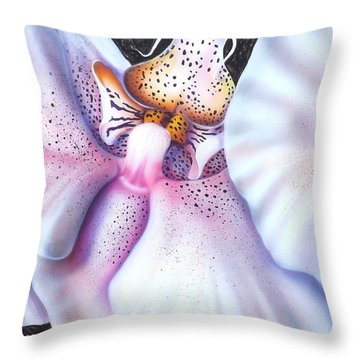 Spotted Orchid Throw Pillow by Darren Robinson