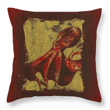 Spotted Red Octopus Throw Pillow