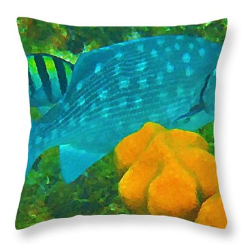Spotted Surgeon Fish Throw Pillow by John Malone