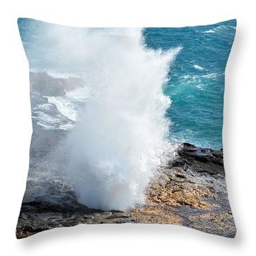 Spouting Horn In Kauai Throw Pillow