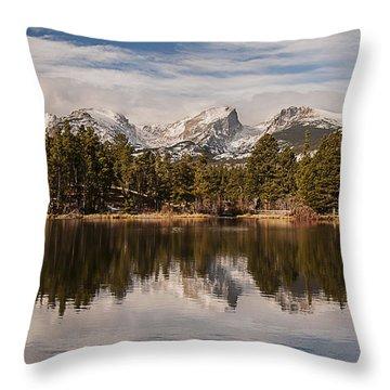 Sprague Lake Reflection In The Morning Throw Pillow