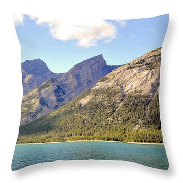 Spray Lake Mountains Throw Pillow