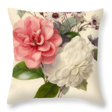 Spray Of Three Flowers Throw Pillow by Marie Anne