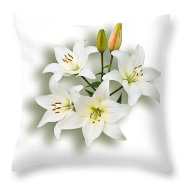 Spray Of White Lilies Throw Pillow by Jane McIlroy