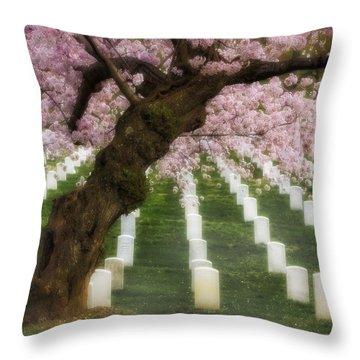 Spring Arives At Arlington National Cemetery Throw Pillow by Susan Candelario