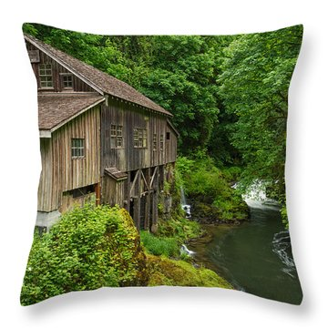 Spring At Cedar Creek Grist Mill Throw Pillow by Patricia Davidson