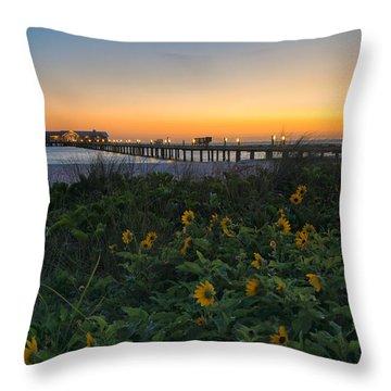 Spring At City Pier Throw Pillow