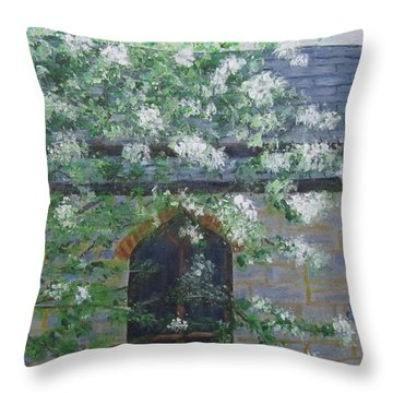 Spring At Grace Church Throw Pillow