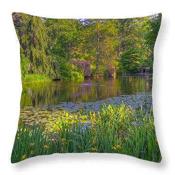 Spring Morning At Mount Auburn Cemetery Throw Pillow