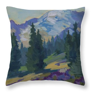 Spring At Mount Rainier Throw Pillow by Diane McClary