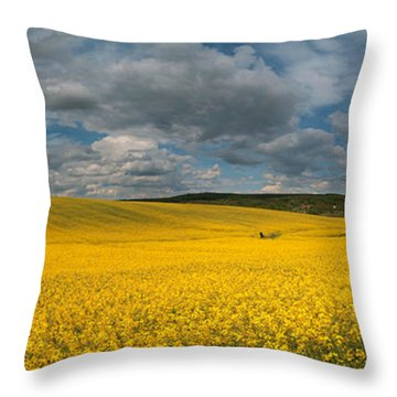Spring At Oilseed Rape Field Throw Pillow