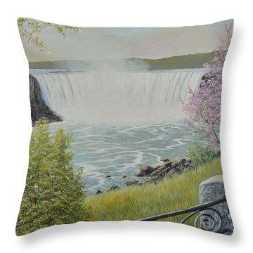 Spring At The Falls Throw Pillow