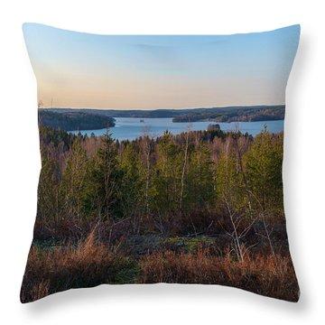 Spring At The Lake Hiidenvesi Throw Pillow
