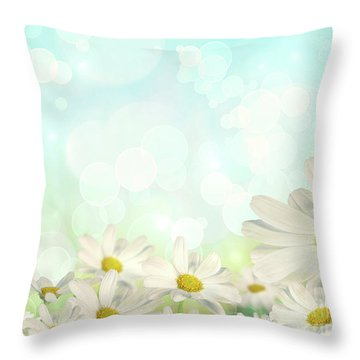 Spring Background With Daisies Throw Pillow