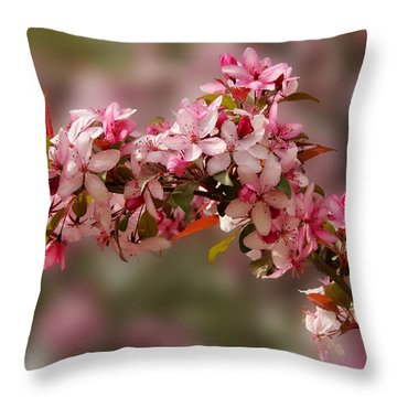 Cheery Cherry Blossoms Throw Pillow