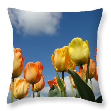 Spring Blue Sky White Clouds Orange Tulip Flowers Throw Pillow by Baslee Troutman