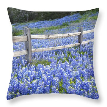 Spring Bluebonnets In The Hill Country Throw Pillow