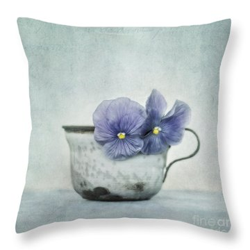 Spring Blues With A Hint Of Yellow Throw Pillow by Priska Wettstein