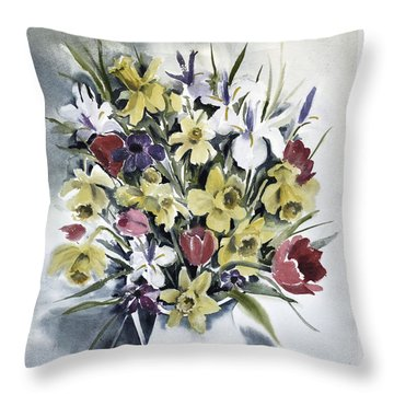 Throw Pillow featuring the painting Spring Bouquet by Joan Hartenstein