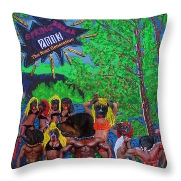 Throw Pillow featuring the painting Spring Break 2013 by Lisa Piper
