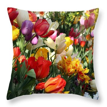 Throw Pillow featuring the photograph Spring Bulb Bonanza by Mary Lou Chmura