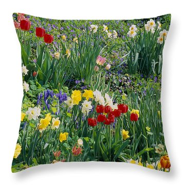 Throw Pillow featuring the photograph Spring Bulb Garden by Alan L Graham