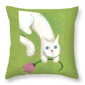 Spring Cat Throw Pillow
