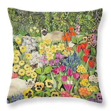 Spring Cats Throw Pillow by Hilary Jones