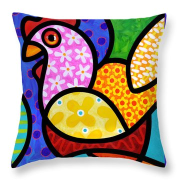 Spring Chicken Throw Pillow