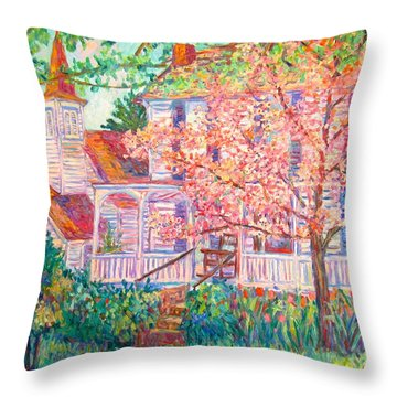 Spring Church Scene Throw Pillow by Kendall Kessler