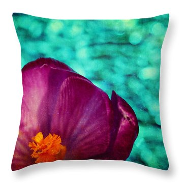 Throw Pillow featuring the photograph Spring Crocus by Peggy Collins