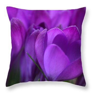 Spring Crocuses Throw Pillow by Peggy Collins