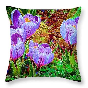 Spring Crocuses Throw Pillow by Richard Farrington