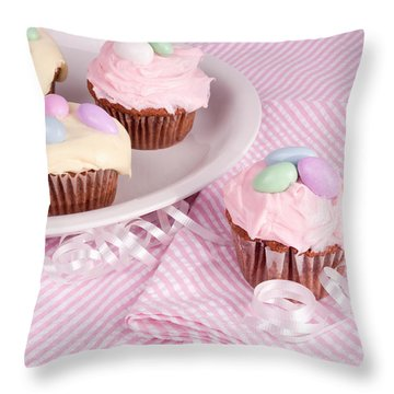 Cupcakes With A Spring Theme Throw Pillow