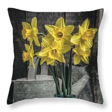 Spring Daffodil Flowers Throw Pillow by Edward Fielding