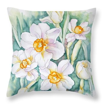 Spring Daffodils Throw Pillow by Inese Poga