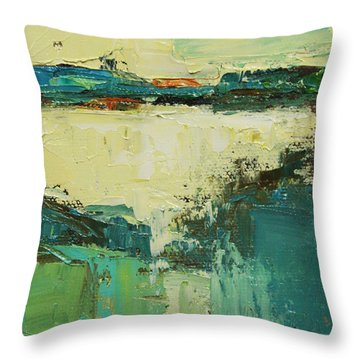 Throw Pillow featuring the painting Spring Dance by Becky Kim