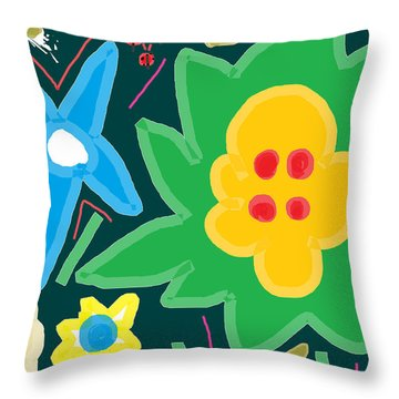 Throw Pillow featuring the painting Spring Day Teal by Anita Dale Livaditis