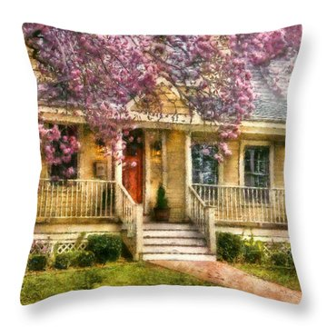 Spring - Door - Vacation House Throw Pillow by Mike Savad