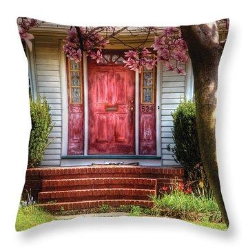 Spring - Door - Westfield Nj - Pink Throw Pillow by Mike Savad