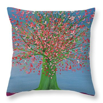 Throw Pillow featuring the painting Spring Fantasy Tree By Jrr by First Star Art
