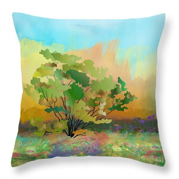 Spring Field Throw Pillow by Bedros Awak