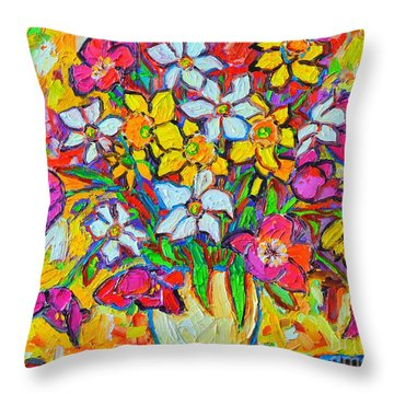 Spring Flowers Bouquet Colorful Tulips And Daffodils Throw Pillow by Ana Maria Edulescu