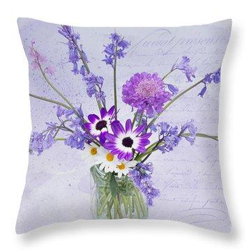 Spring Flowers In A Jam Jar Throw Pillow by Ann Garrett