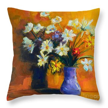 Spring Flowers In A Vase Throw Pillow by Patricia Awapara