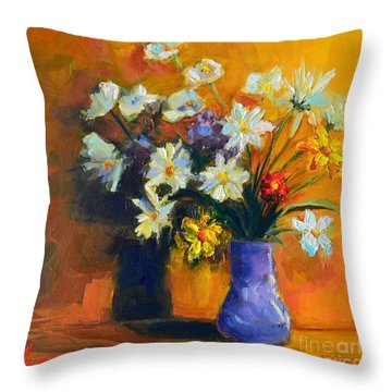 Spring Flowers In A Vase Throw Pillow