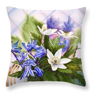 Throw Pillow featuring the painting Spring Flowers by Irina Sztukowski