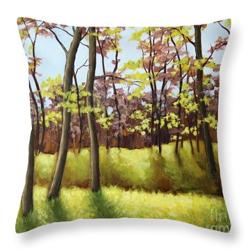 Spring Forest Throw Pillow by Inese Poga